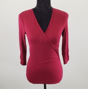 B2G1 WHBM Dark Red Wrap Front Blouse